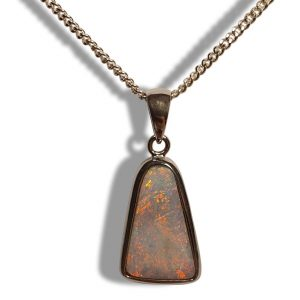 Opal silver pendant